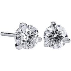 H & H 1.23 Carat Round Cut Diamond Stud Earrings