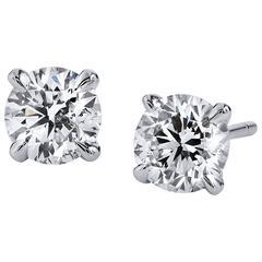 H & H 1.05 Carat Diamond Stud Earrings
