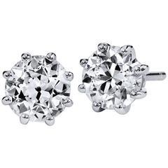 H & H 1.54 Old European Cut Diamond Stud Earrings