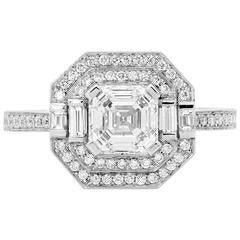 GIA Certified 1.31 Carat Asscher Cut Halo Diamond platinum  Engagement Ring