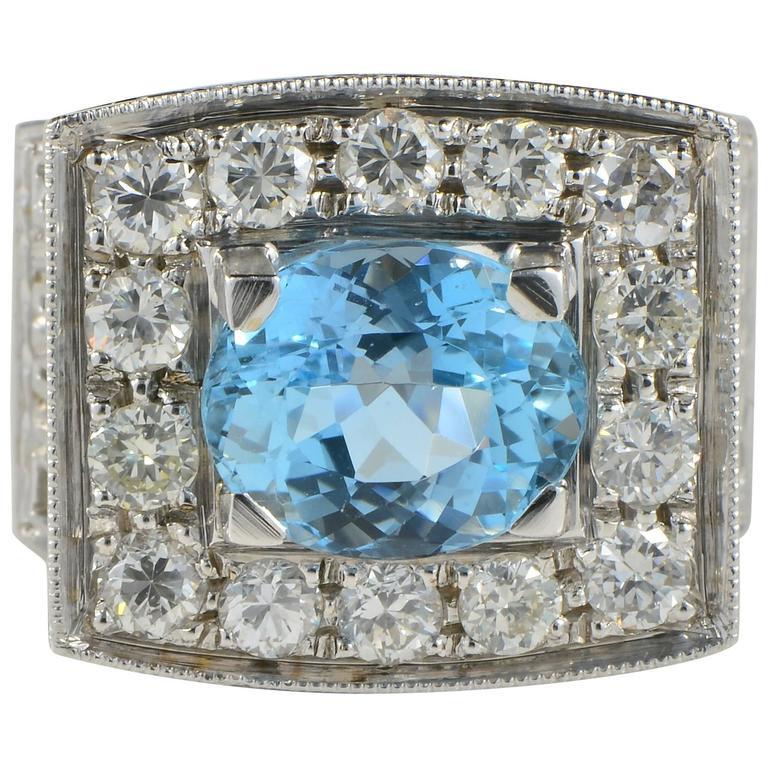 3.00 Carat Deep Blue Aquamarine 1.10 Carat Diamond Retro Ring