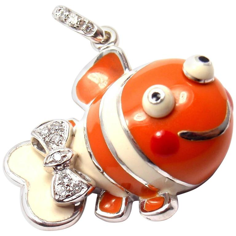 Aaron Basha Diamond White Gold Clown Fish Charm Pendant 1