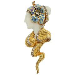Masriera Spain Enamel Diamond Gold Brooch Pendant