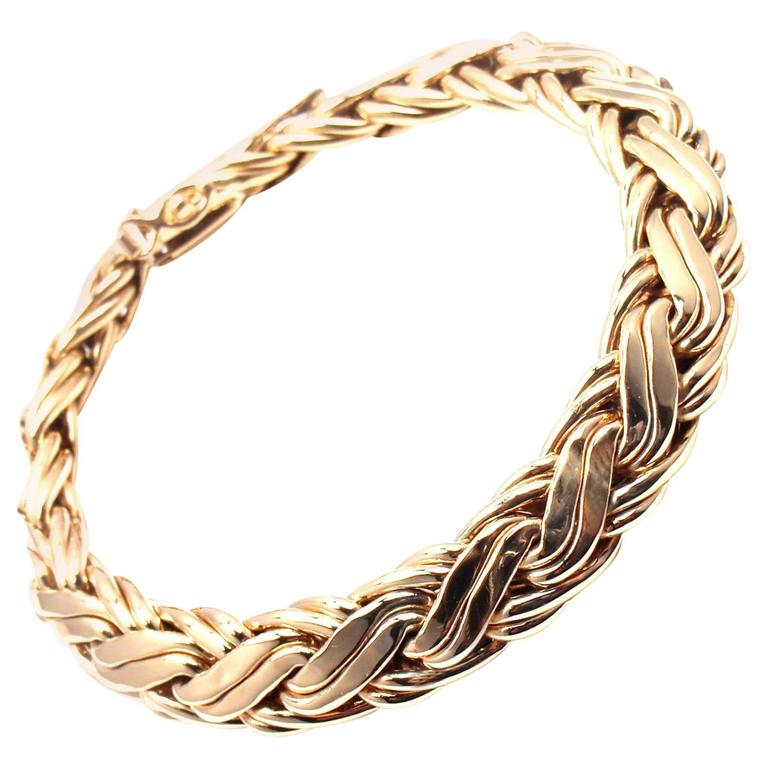 Tiffany & Co. Russian Weave Wide Yellow Gold Bracelet For Sale