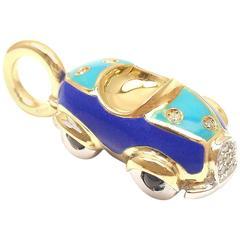 Aaron Basha Diamond Sapphire Enamel Yellow Gold Car Pendant Charm