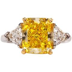 Cartier 4.33 Carat GIA Intense Fancy Yellow Diamond Platinum Ring