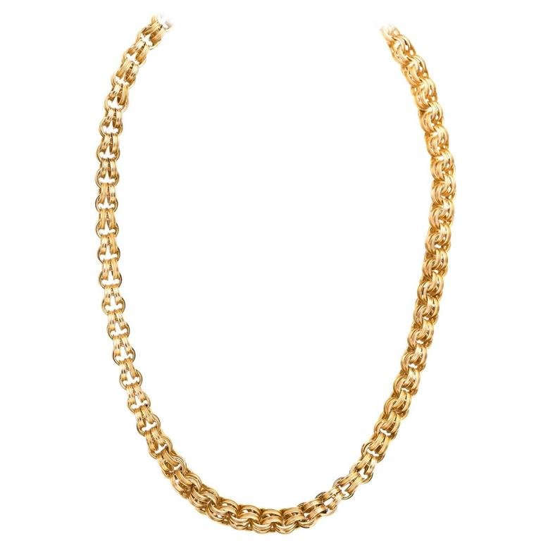 New Antique Gold Chain Textured Double Loop Necklace For Sale at 1stdibs BK04
