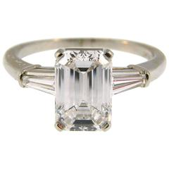 Cartier 2.03 Carat GIA Emerald Cut Diamond Platinum Engagement Ring