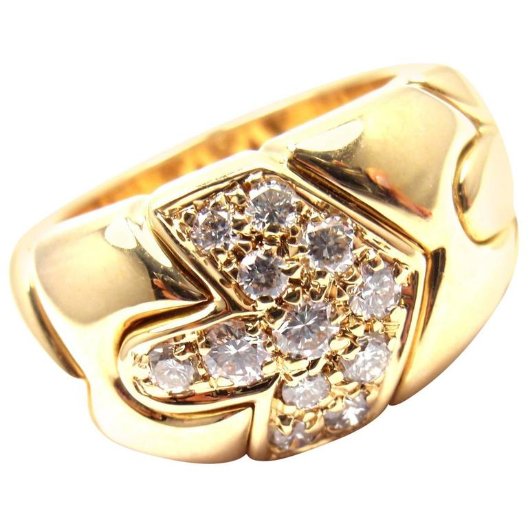 Bulgari Diamond Yellow Gold Arrow Band Ring