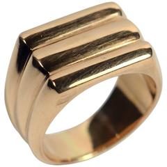 Retro French Ridged Rose Gold Ring