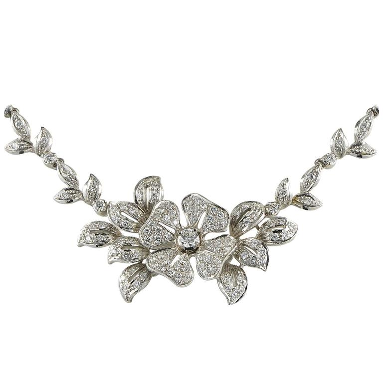 4.00 Carat Diamond Exclusive Pansy Floral Design Vintage Necklace