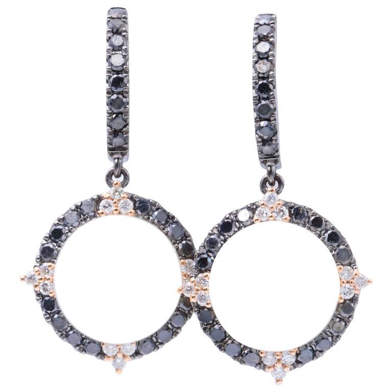 South Sea Pearl Black Diamond Dangle Earrings