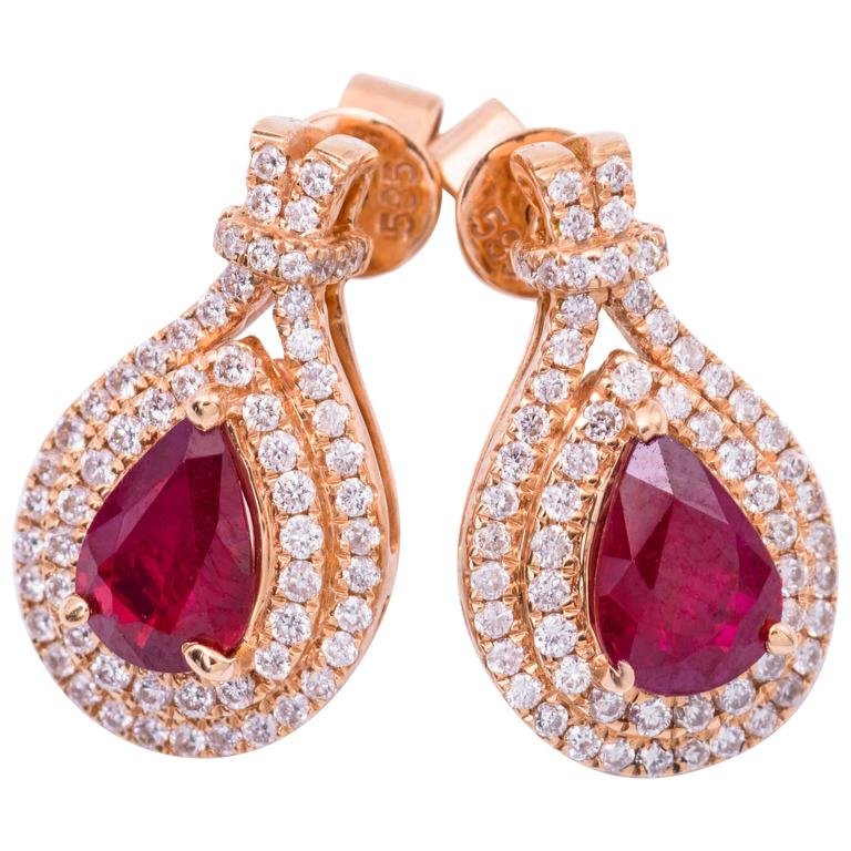 Pear Shape Ruby Diamond Rose Gold Earrings 1