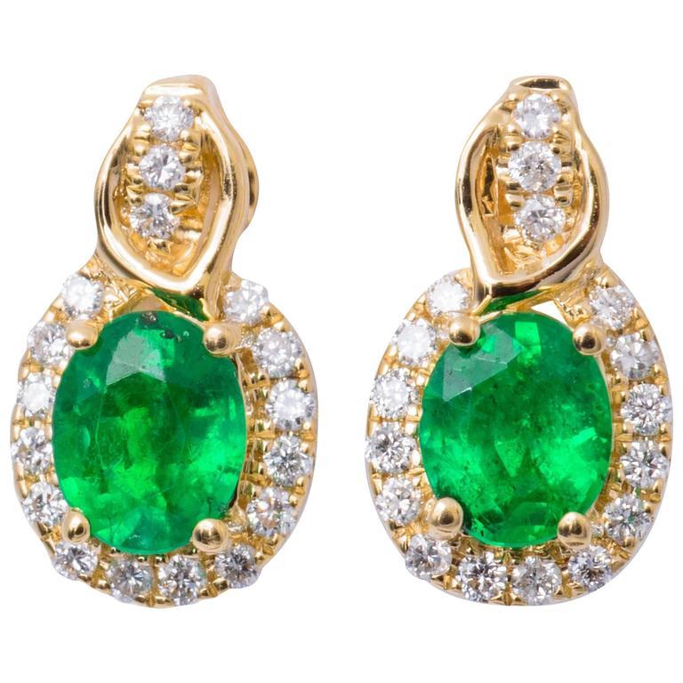 Emerald Diamond Yellow Gold Studs Drop Earrings