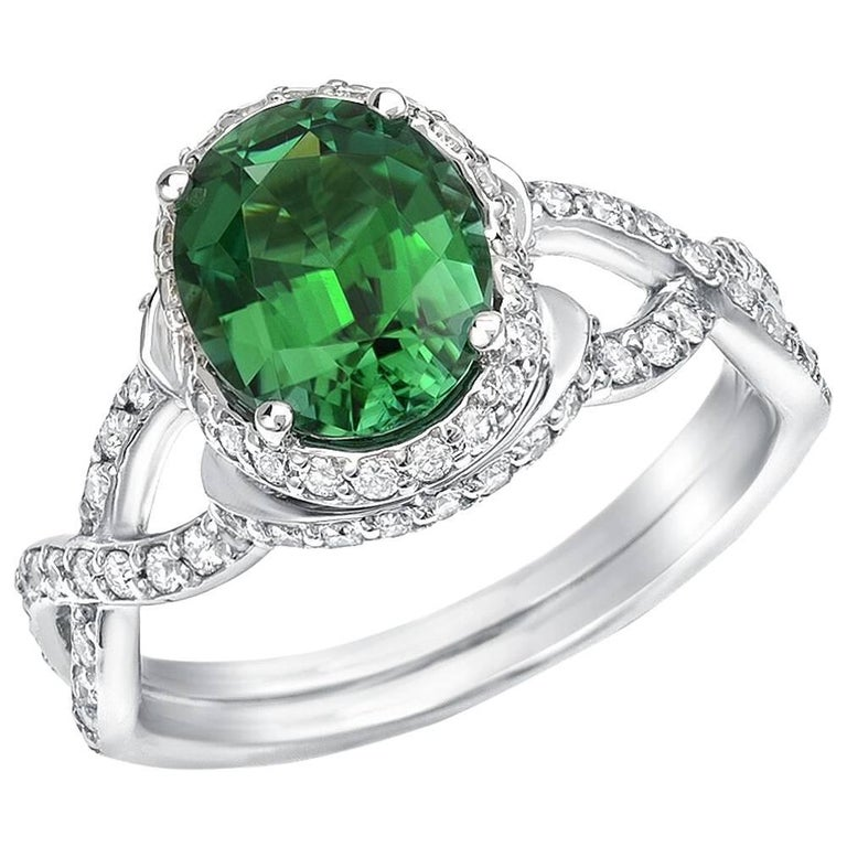 Green Chrome Tourmaline Diamond White Gold Ring 1.97 Carat Oval  For Sale