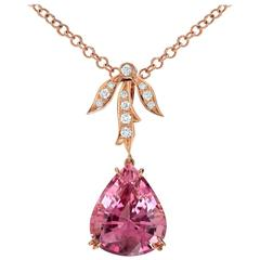 10.87 Carat Pink Tourmaline Diamond Rose Gold Pendant