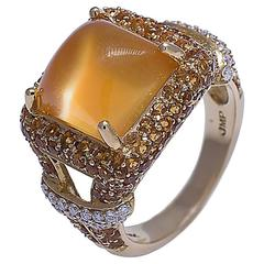 Citrine Cabochon Yellow Sapphire Diamond 18K Gold Ring