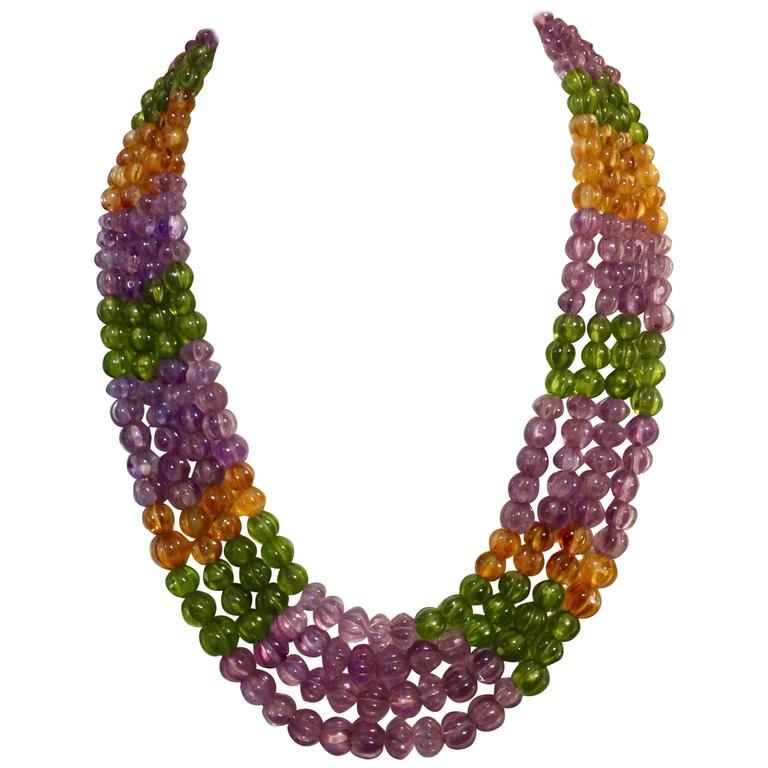 Michael Kneebone Amethyst Peridot Citrine Multi-Strand Bead Necklace
