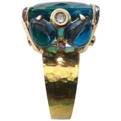 Michael Kneebone Bi-Color Topaz White Diamond Gold Cocktail Ring