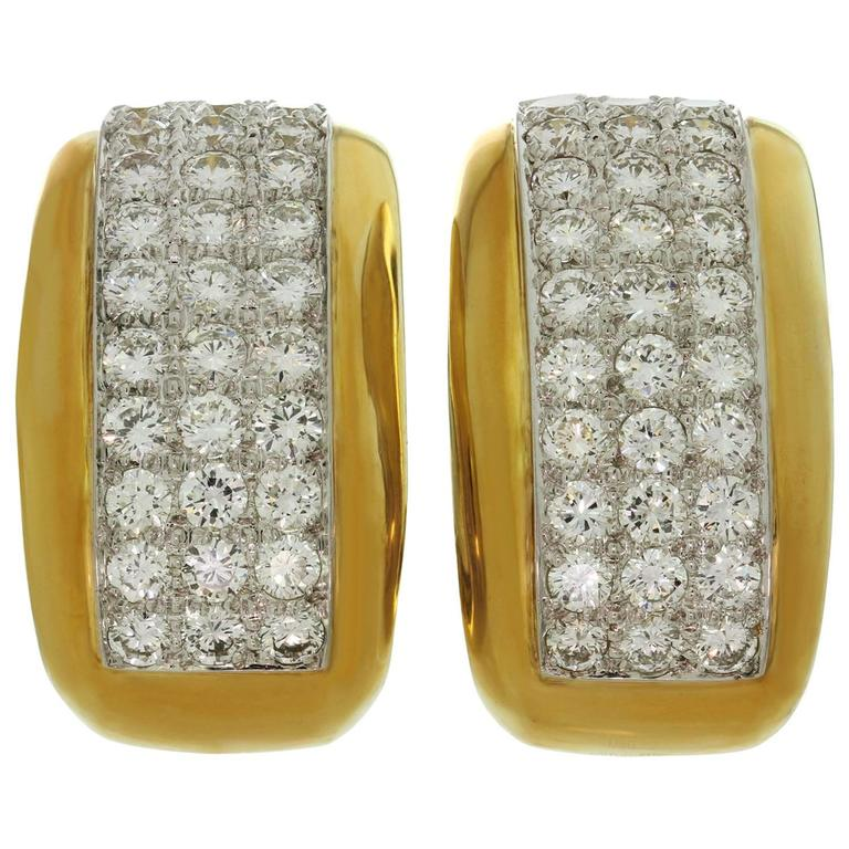 David Webb Diamond Platinum Yellow Gold Clip-On Earrings