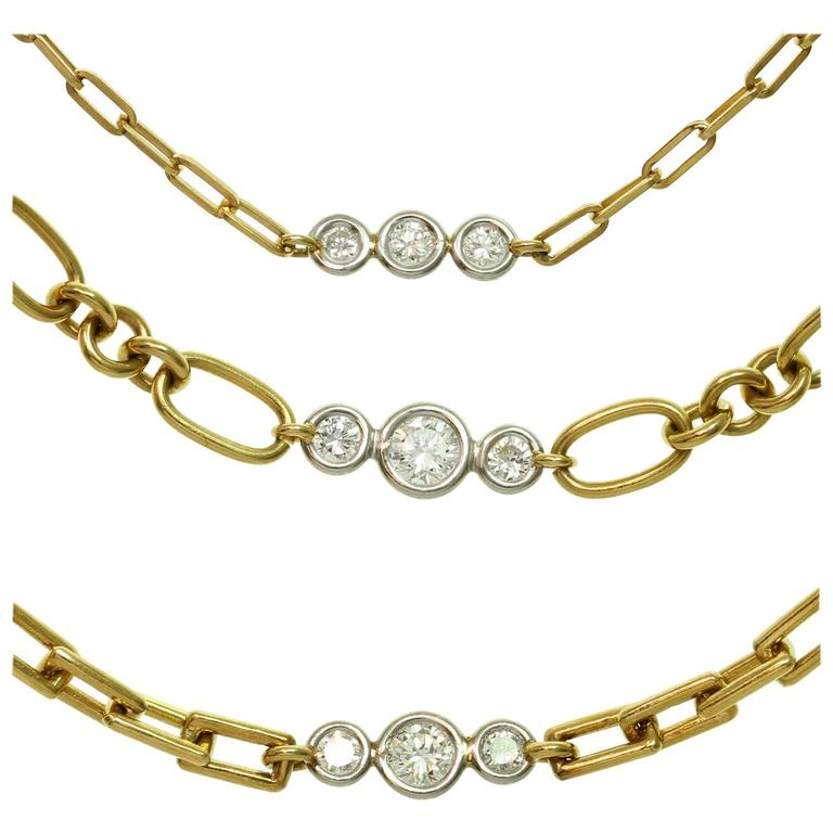 David Webb Diamond Platinum Yellow Gold Long Chain Necklace For Sale