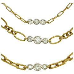 David Webb Diamond Platinum Yellow Gold Long Chain Necklace