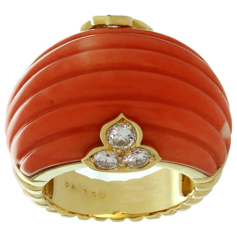 Christian Dior Natural Coral Diamond Yellow Gold Ring