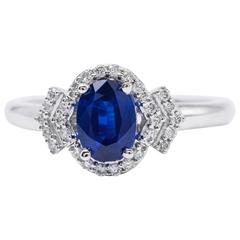 Oval Shape Sapphire and Diamond Engagement Halo Ring