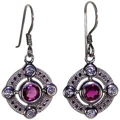 Rubelite Sterling Silver Earrings