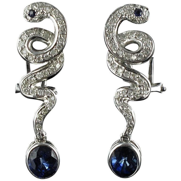 Modern Snake Sapphire and Diamond Earrings