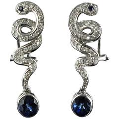 Modern Snake Sapphire and Diamond Earrings