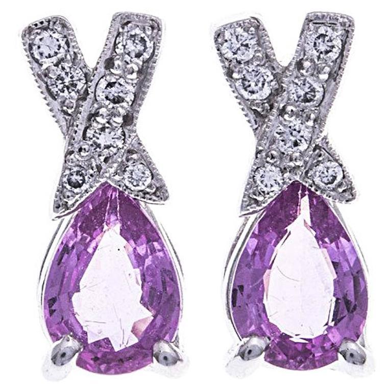 18 Carat White Gold Spodumene and Diamond Stud Earrings