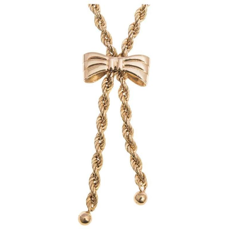 Vintage 1980s 9 Carat Gold Rope and Bow Necklace For Sale