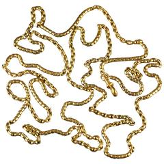 Antique Long Fancy Guard Chain 18 Carat Gold Silver, circa 1900