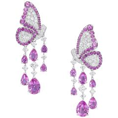 White Gold, White Diamond and Pink Sapphire Dangle Earrings