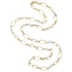 Faraone Mennella Aquamarine Gold Stella Necklace