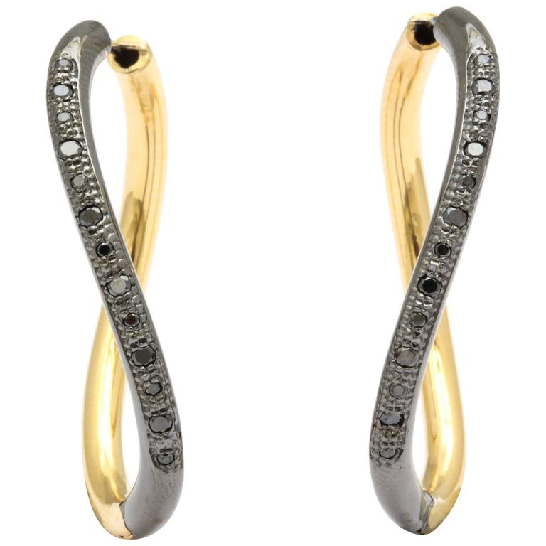 Faraone Mennella Black Diamond Yellow Gold Wave Earrings