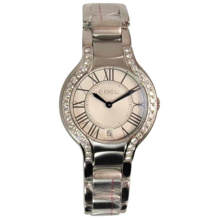 Ebel Ladies Stainless Steel Beluga Grande Diamond Bracelet Quartz Wristwatch