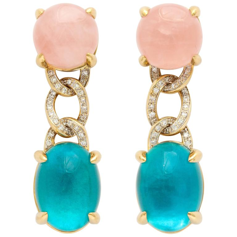 Faraone Mennella Rose Quartz Blue Tourmaline Yellow Gold Earrings