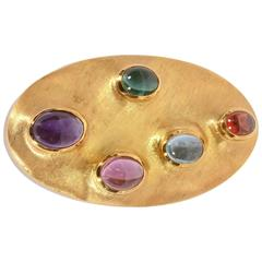 Burle Marx Oval Gemstone Gold Brooch