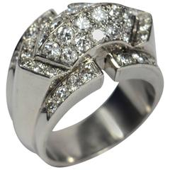 Art Moderne Diamond Platinum Ridge Ring