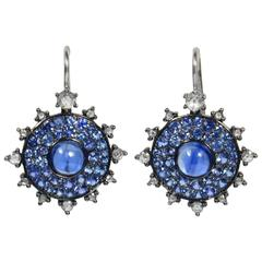 Nam Cho Bullseye Kyanite Sapphire Diamond Gold Earrings