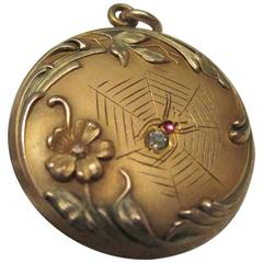 Victorian Gold Filled Spider and Web Diamond Ruby Gold Locket