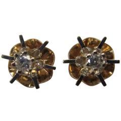 Diamond Gold Buttercup Stud Earrings