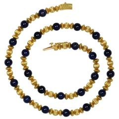 Ilias Lalaounis Sodalite Gold Beads Necklace, circa 1980