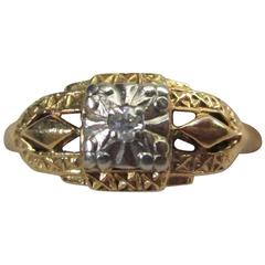 Diamond Gold Filigree Ring