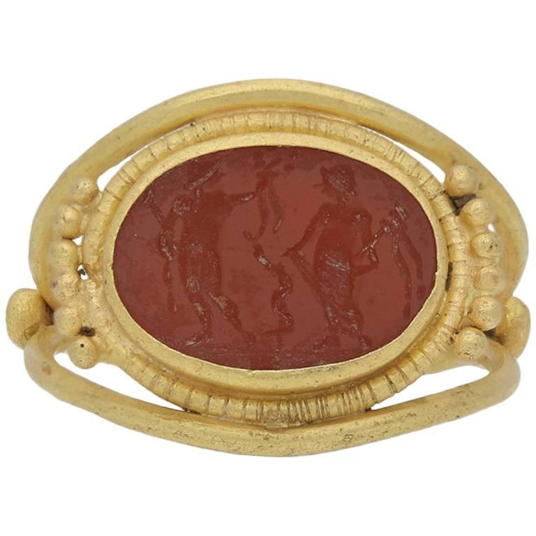 Ancient Roman Apollo and Salus Intaglio Ring, circa 3rd-4th Century AD