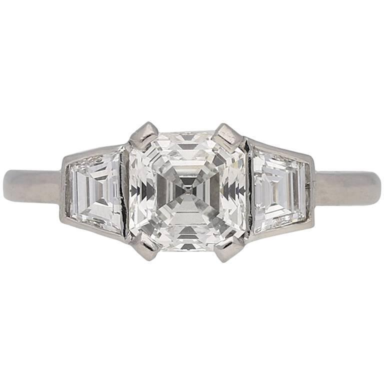 Art Deco Asscher Cut Diamond Ring, circa 1935 1