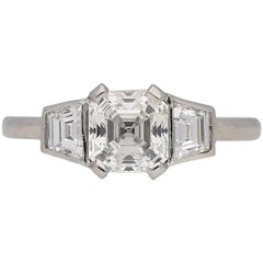 Art Deco Asscher Cut Diamond Ring, circa 1935