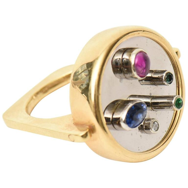 Modernist Sapphire, Ruby, Emerald 18K Yellow & White Gold Dome Ring
